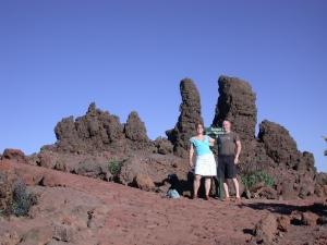 bovenop de Roque de los Muchachos begint een wandelroute