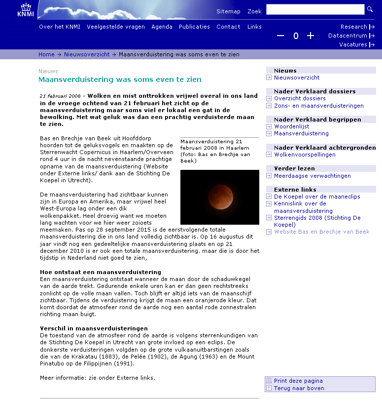 screenshot van  de KNMI site