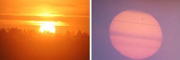 Zonsopkomst en projectie van de zon met venus ervoor in een doosje